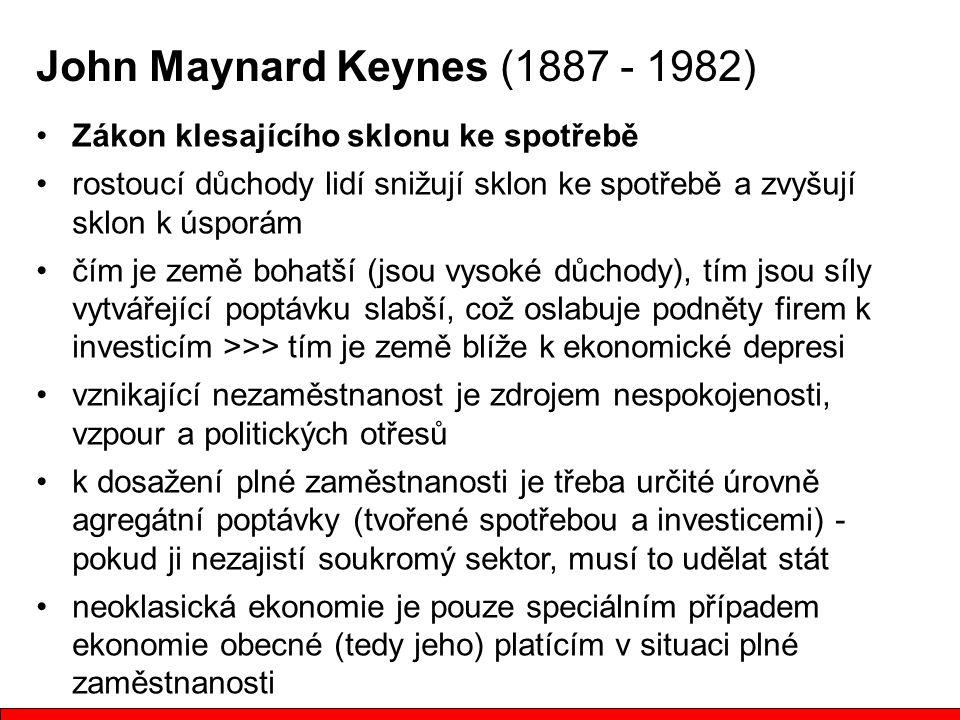 John Maynard Keynes (1887 - 1982) Zákon klesajícího sklonu ke spotřebě rostoucí důchody lidí snižují sklon ke spotřebě a zvyšují sklon k úsporám čím j