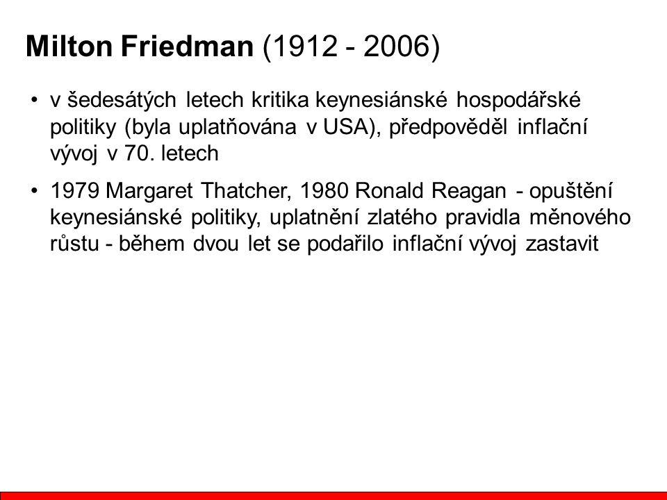 v šedesátých letech kritika keynesiánské hospodářské politiky (byla uplatňována v USA), předpověděl inflační vývoj v 70. letech 1979 Margaret Thatcher