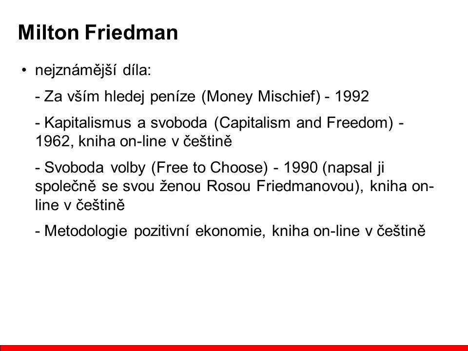 nejznámější díla: - Za vším hledej peníze (Money Mischief) - 1992 - Kapitalismus a svoboda (Capitalism and Freedom) - 1962, kniha on-line v češtině - Svoboda volby (Free to Choose) - 1990 (napsal ji společně se svou ženou Rosou Friedmanovou), kniha on- line v češtině - Metodologie pozitivní ekonomie, kniha on-line v češtině Milton Friedman
