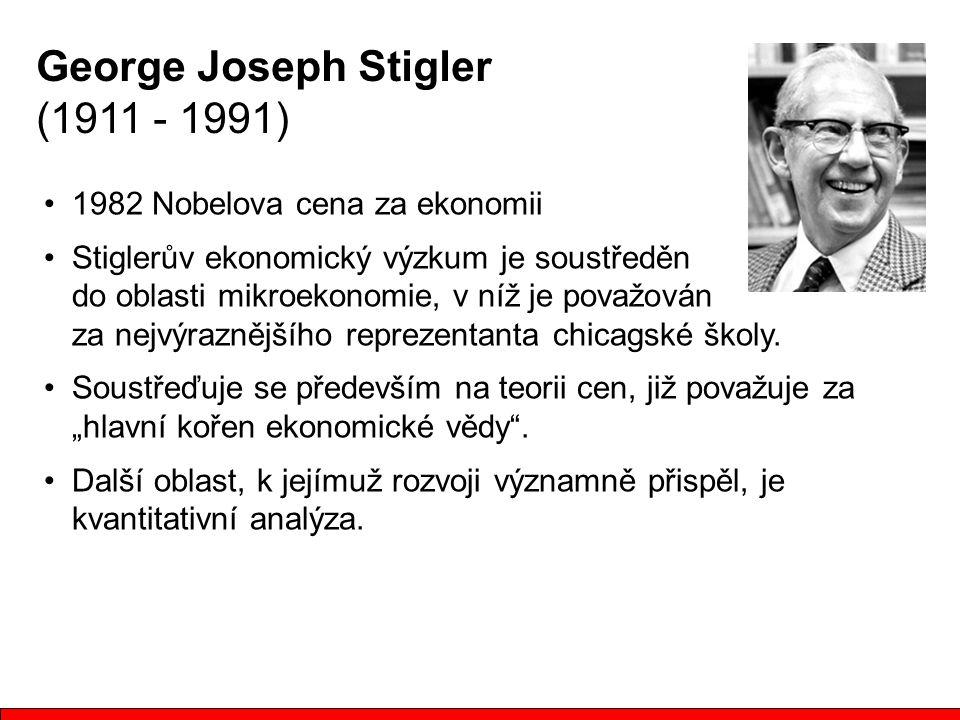 1982 Nobelova cena za ekonomii Stiglerův ekonomický výzkum je soustředěn do oblasti mikroekonomie, v níž je považován za nejvýraznějšího reprezentanta chicagské školy.