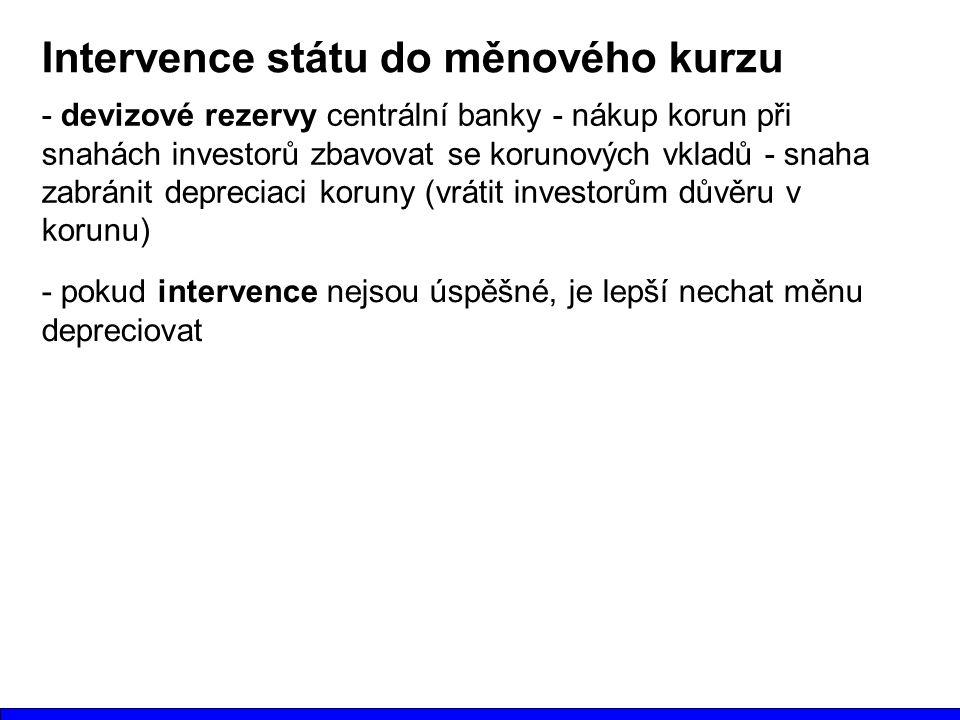 Intervence státu do měnového kurzu - devizové rezervy centrální banky - nákup korun při snahách investorů zbavovat se korunových vkladů - snaha zabránit depreciaci koruny (vrátit investorům důvěru v korunu) - pokud intervence nejsou úspěšné, je lepší nechat měnu depreciovat