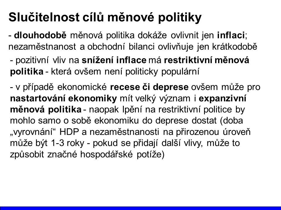 Slučitelnost cílů měnové politiky - dlouhodobě měnová politika dokáže ovlivnit jen inflaci; nezaměstnanost a obchodní bilanci ovlivňuje jen krátkodobě