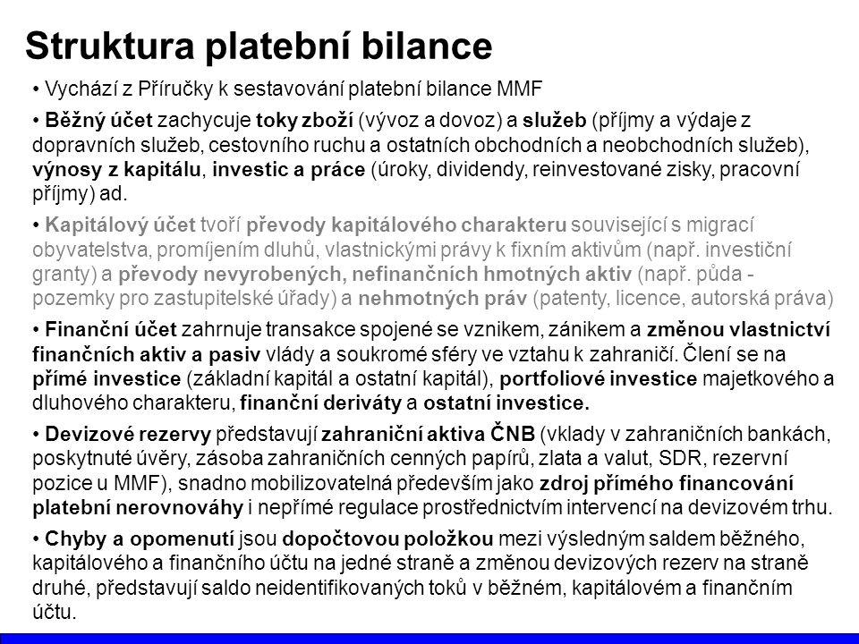 Struktura platební bilance Vychází z Příručky k sestavování platební bilance MMF Běžný účet zachycuje toky zboží (vývoz a dovoz) a služeb (příjmy a výdaje z dopravních služeb, cestovního ruchu a ostatních obchodních a neobchodních služeb), výnosy z kapitálu, investic a práce (úroky, dividendy, reinvestované zisky, pracovní příjmy) ad.