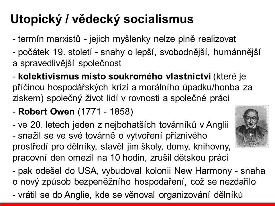 - termín marxistů - jejich myšlenky nelze plně realizovat - počátek 19.