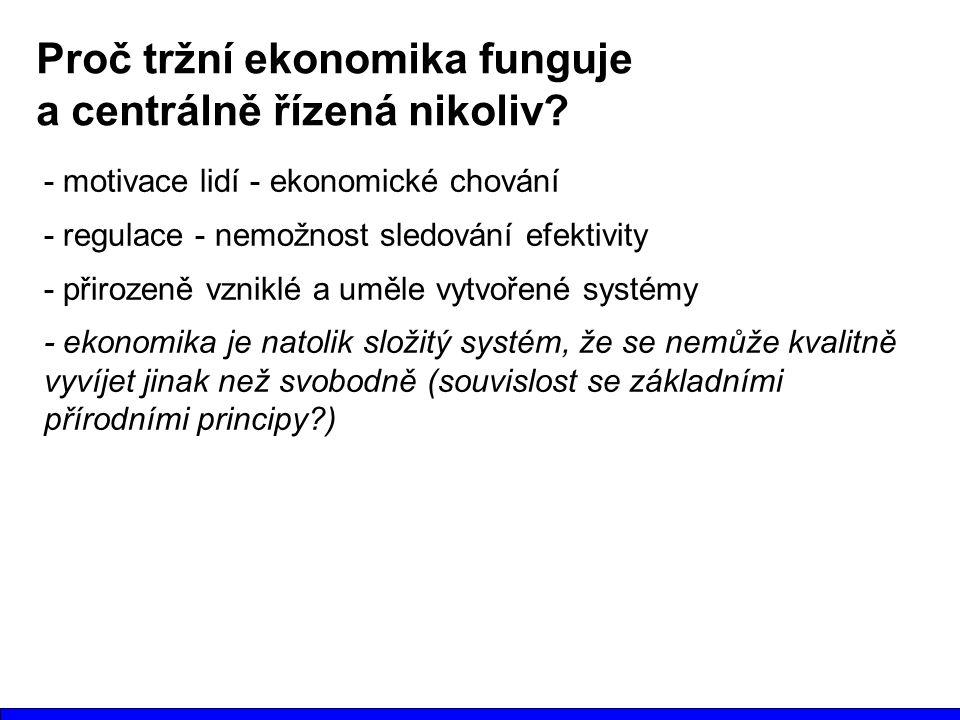 Proč tržní ekonomika funguje a centrálně řízená nikoliv? - motivace lidí - ekonomické chování - regulace - nemožnost sledování efektivity - přirozeně