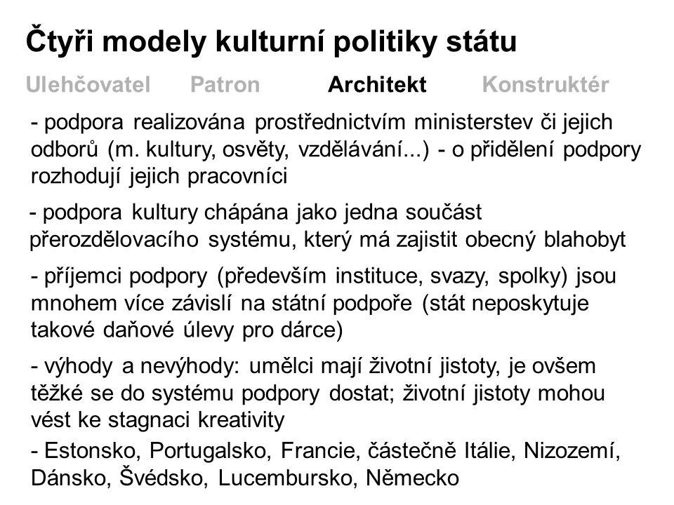 Čtyři modely kulturní politiky státu UlehčovatelPatronArchitektKonstruktér - podpora realizována prostřednictvím ministerstev či jejich odborů (m.