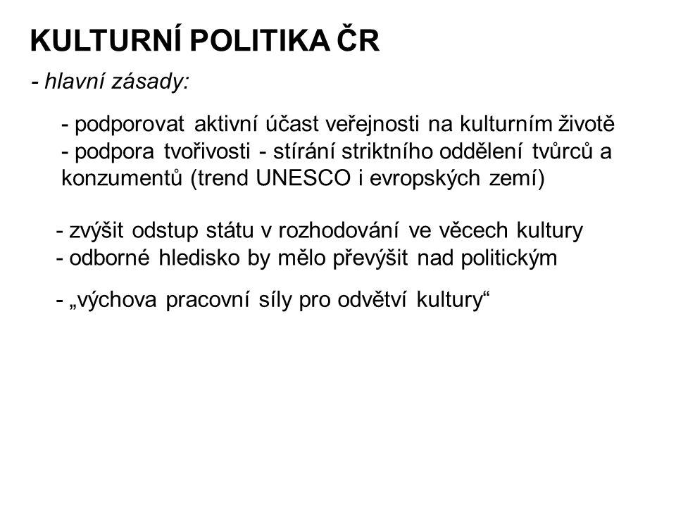 """KULTURNÍ POLITIKA ČR - hlavní zásady: - podporovat aktivní účast veřejnosti na kulturním životě - podpora tvořivosti - stírání striktního oddělení tvůrců a konzumentů (trend UNESCO i evropských zemí) - zvýšit odstup státu v rozhodování ve věcech kultury - odborné hledisko by mělo převýšit nad politickým - """"výchova pracovní síly pro odvětví kultury"""