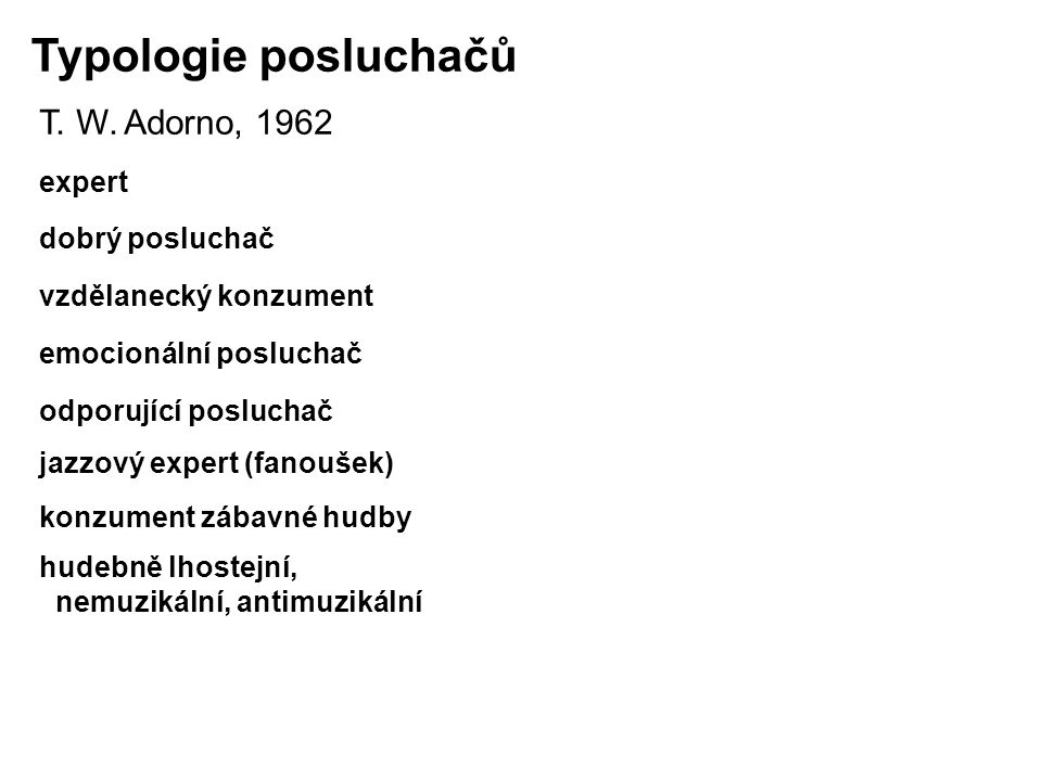 Typologie posluchačů T.W.