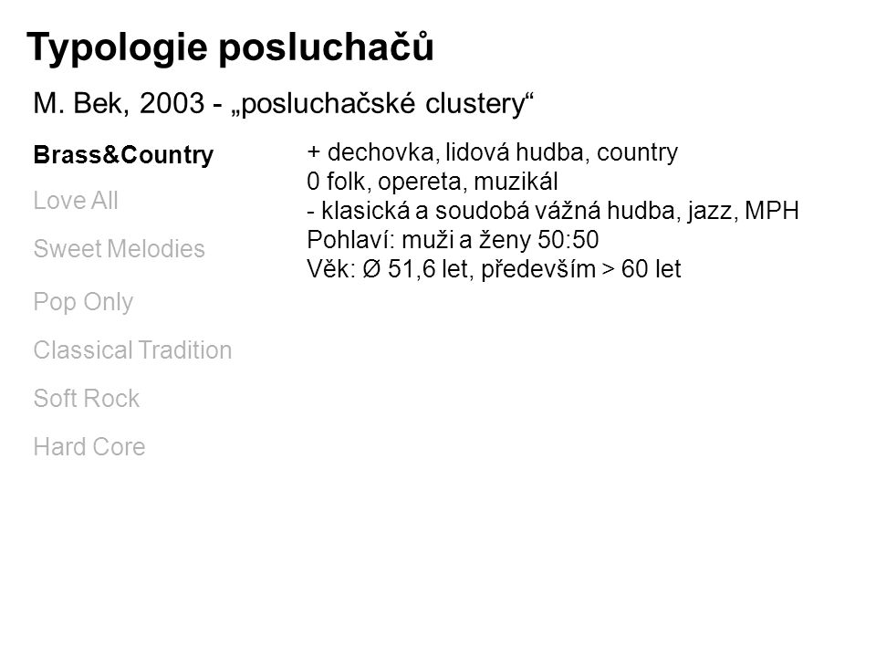 "Typologie posluchačů M. Bek, 2003 - ""posluchačské clustery"" Brass&Country Love All Sweet Melodies Pop Only Classical Tradition Soft Rock Hard Core + d"