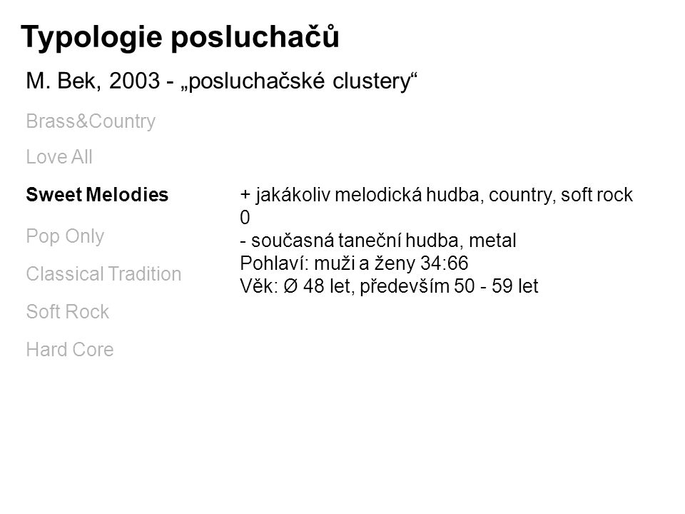 "Typologie posluchačů M. Bek, 2003 - ""posluchačské clustery"" Brass&Country Love All Sweet Melodies Pop Only Classical Tradition Soft Rock Hard Core + j"