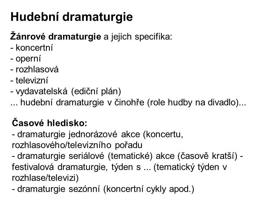 Hudební dramaturgie Žánrové dramaturgie a jejich specifika: - koncertní - operní - rozhlasová - televizní - vydavatelská (ediční plán)...