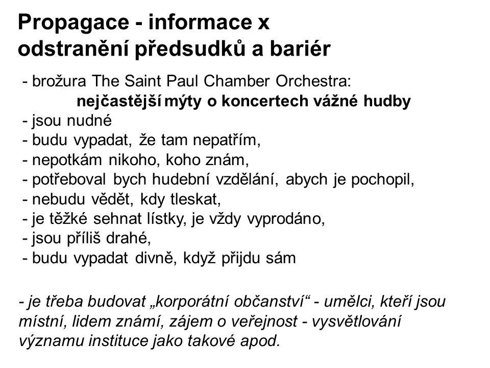 """- brožura The Saint Paul Chamber Orchestra: nejčastější mýty o koncertech vážné hudby - jsou nudné - budu vypadat, že tam nepatřím, - nepotkám nikoho, koho znám, - potřeboval bych hudební vzdělání, abych je pochopil, - nebudu vědět, kdy tleskat, - je těžké sehnat lístky, je vždy vyprodáno, - jsou příliš drahé, - budu vypadat divně, když přijdu sám Propagace - informace x odstranění předsudků a bariér - je třeba budovat """"korporátní občanství - umělci, kteří jsou místní, lidem známí, zájem o veřejnost - vysvětlování významu instituce jako takové apod."""