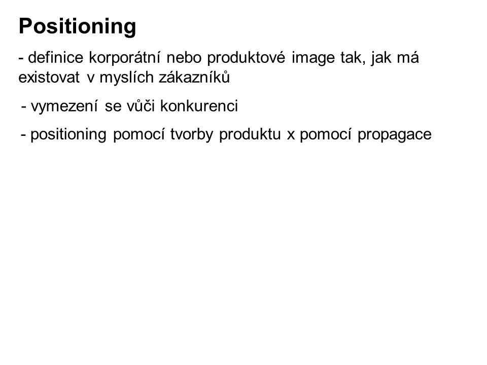 Positioning - definice korporátní nebo produktové image tak, jak má existovat v myslích zákazníků - positioning pomocí tvorby produktu x pomocí propagace - vymezení se vůči konkurenci