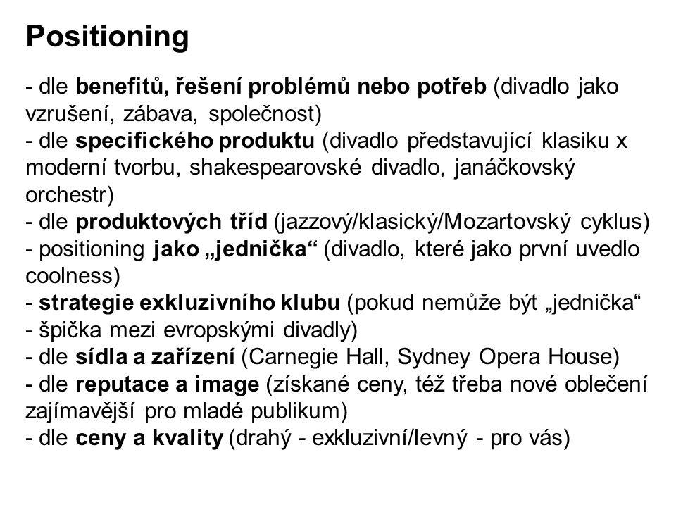 """Positioning - dle benefitů, řešení problémů nebo potřeb (divadlo jako vzrušení, zábava, společnost) - dle specifického produktu (divadlo představující klasiku x moderní tvorbu, shakespearovské divadlo, janáčkovský orchestr) - dle produktových tříd (jazzový/klasický/Mozartovský cyklus) - positioning jako """"jednička (divadlo, které jako první uvedlo coolness) - strategie exkluzivního klubu (pokud nemůže být """"jednička - špička mezi evropskými divadly) - dle sídla a zařízení (Carnegie Hall, Sydney Opera House) - dle reputace a image (získané ceny, též třeba nové oblečení zajímavější pro mladé publikum) - dle ceny a kvality (drahý - exkluzivní/levný - pro vás)"""