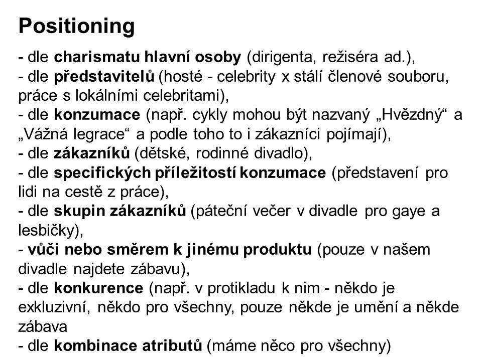 - dle charismatu hlavní osoby (dirigenta, režiséra ad.), - dle představitelů (hosté - celebrity x stálí členové souboru, práce s lokálními celebritami), - dle konzumace (např.