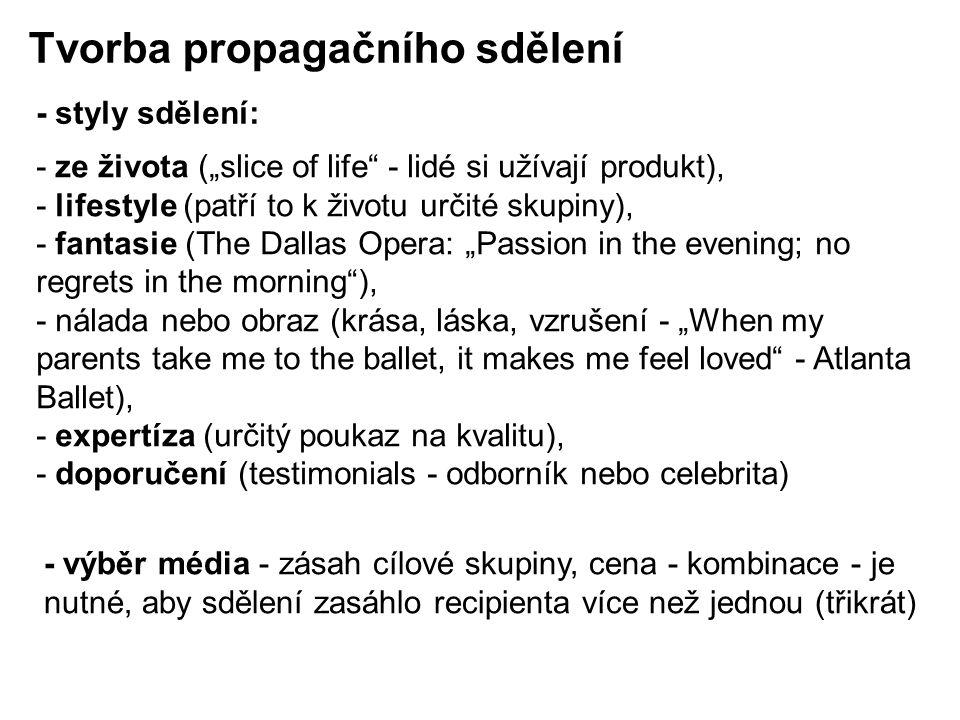 """- ze života (""""slice of life - lidé si užívají produkt), - lifestyle (patří to k životu určité skupiny), - fantasie (The Dallas Opera: """"Passion in the evening; no regrets in the morning ), - nálada nebo obraz (krása, láska, vzrušení - """"When my parents take me to the ballet, it makes me feel loved - Atlanta Ballet), - expertíza (určitý poukaz na kvalitu), - doporučení (testimonials - odborník nebo celebrita) Tvorba propagačního sdělení - styly sdělení: - výběr média - zásah cílové skupiny, cena - kombinace - je nutné, aby sdělení zasáhlo recipienta více než jednou (třikrát)"""