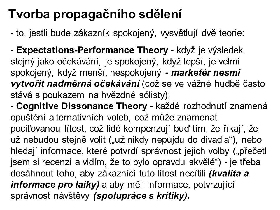 """- Expectations-Performance Theory - když je výsledek stejný jako očekávání, je spokojený, když lepší, je velmi spokojený, když menší, nespokojený - marketér nesmí vytvořit nadměrná očekávání (což se ve vážné hudbě často stává s poukazem na hvězdné sólisty); - Cognitive Dissonance Theory - každé rozhodnutí znamená opuštění alternativních voleb, což může znamenat pociťovanou lítost, což lidé kompenzují buď tím, že říkají, že už nebudou stejně volit (""""už nikdy nepůjdu do divadla ), nebo hledají informace, které potvrdí správnost jejich volby (""""přečetl jsem si recenzi a vidím, že to bylo opravdu skvělé ) - je třeba dosáhnout toho, aby zákazníci tuto lítost necítili (kvalita a informace pro laiky) a aby měli informace, potvrzující správnost návštěvy (spolupráce s kritiky)."""