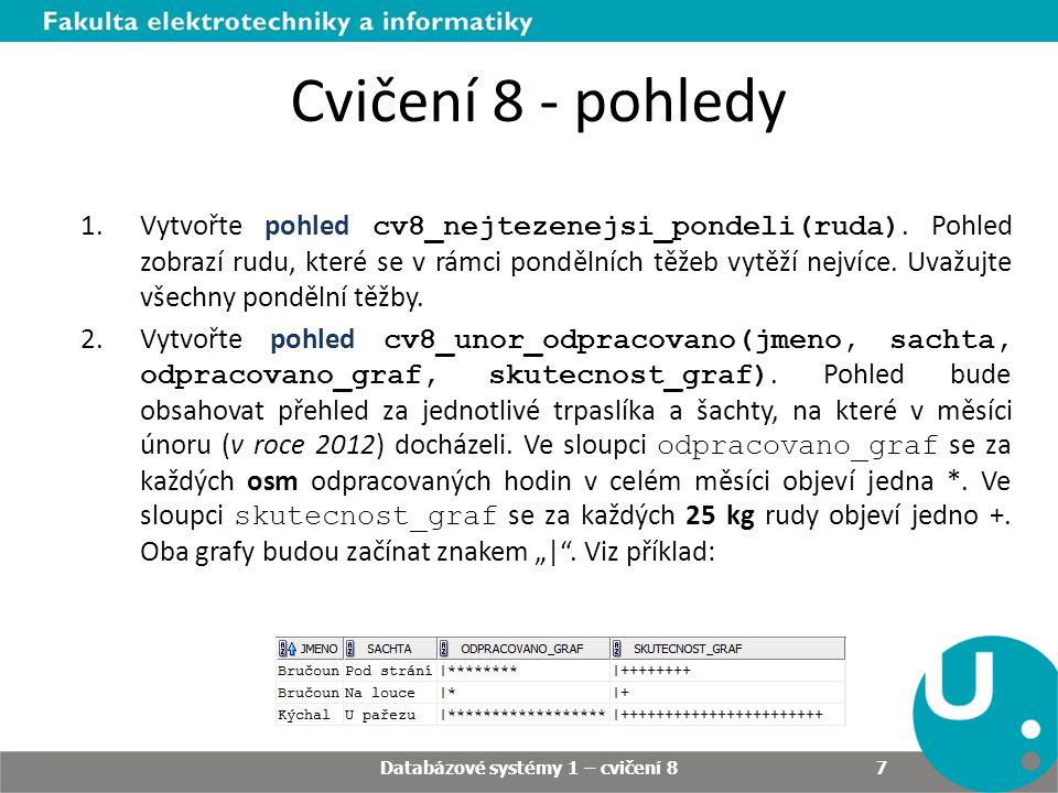 Databázové systémy 1 – cvičení 8 7 Cvičení 8 - pohledy 1.Vytvořte pohled cv8_nejtezenejsi_pondeli(ruda).