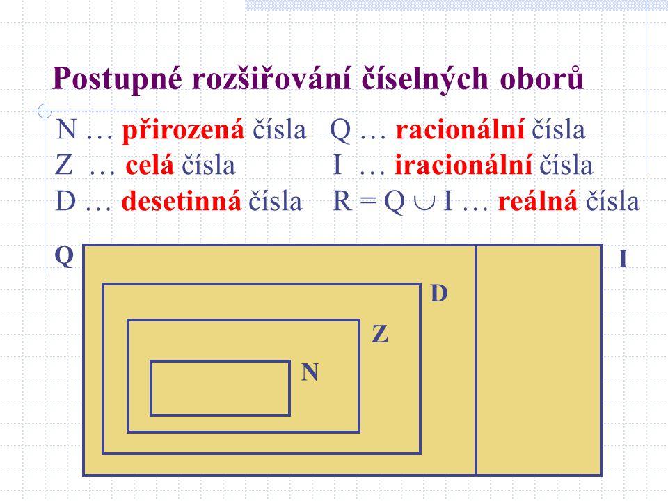Postupné rozšiřování číselných oborů N … přirozená čísla Q … racionální čísla Z … celá čísla I … iracionální čísla D … desetinná čísla R = Q  I … reá