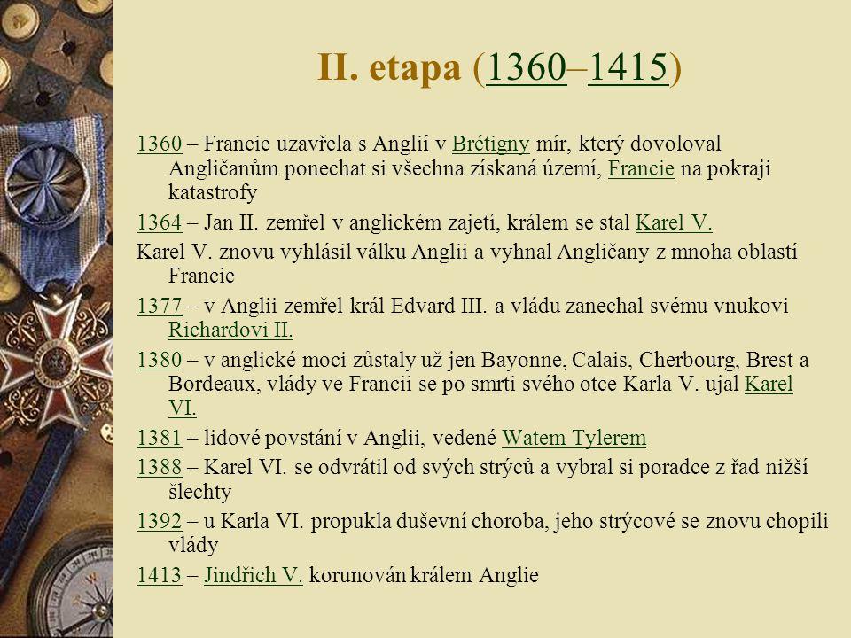 I. etapa (1337–1360)13371360 13371337 – král Edvard III. vznesl nárok na francouzský trůn, začátek otevřeného konfliktu mezi Anglií a FranciíEdvard II
