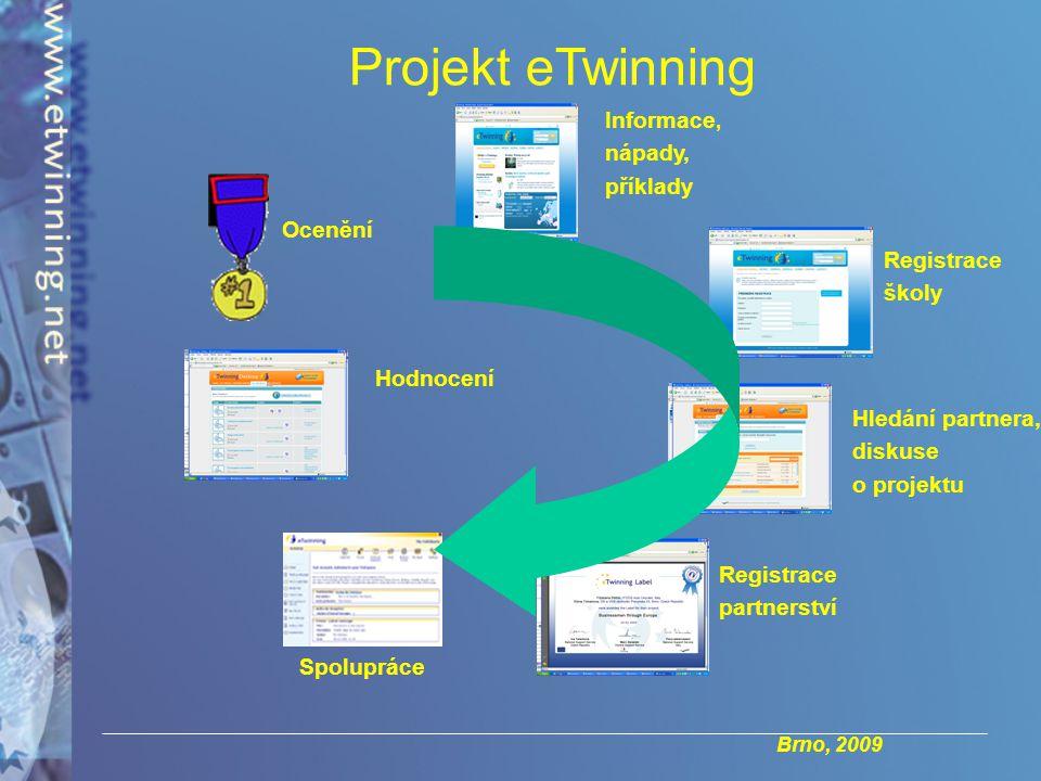 Brno, 2009 Projekt eTwinning Hledání partnera, diskuse o projektu Registrace partnerství Spolupráce Hodnocení Ocenění Informace, nápady, příklady Registrace školy