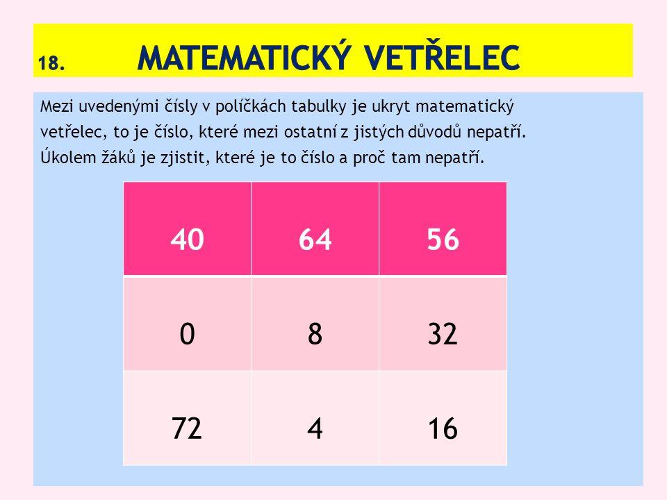 Mezi uvedenými čísly v políčkách tabulky je ukryt matematický vetřelec, to je číslo, které mezi ostatní z jistých důvodů nepatří.