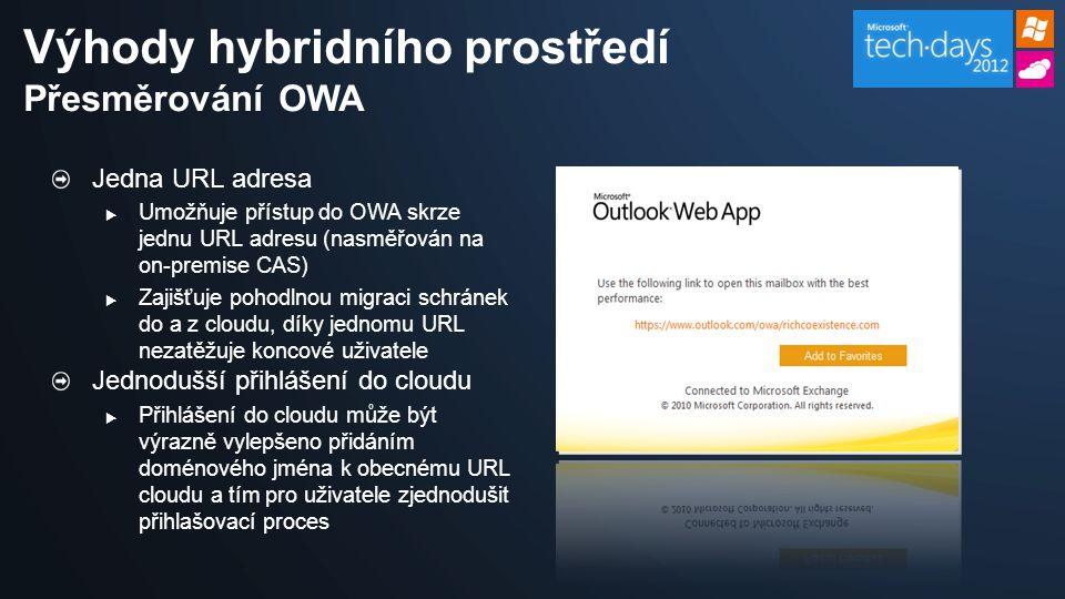 Jedna URL adresa  Umožňuje přístup do OWA skrze jednu URL adresu (nasměřován na on-premise CAS)  Zajišťuje pohodlnou migraci schránek do a z cloudu, díky jednomu URL nezatěžuje koncové uživatele Jednodušší přihlášení do cloudu  Přihlášení do cloudu může být výrazně vylepšeno přidáním doménového jména k obecnému URL cloudu a tím pro uživatele zjednodušit přihlašovací proces Výhody hybridního prostředí Přesměrování OWA