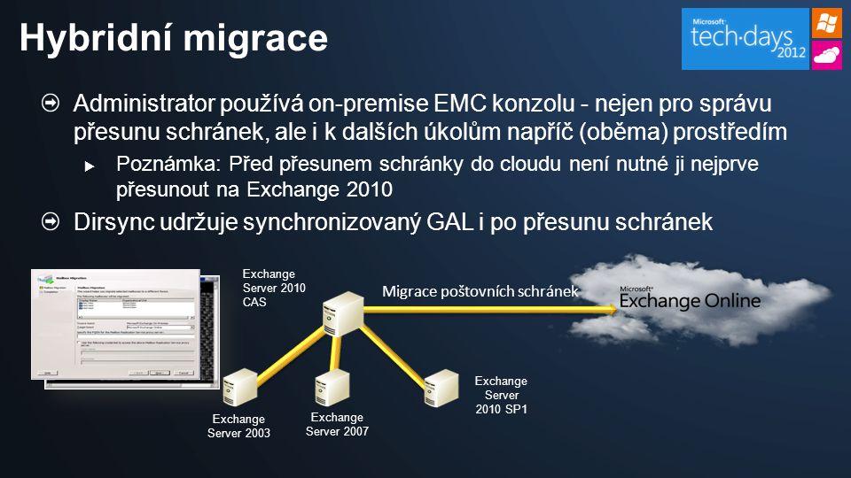 Administrator používá on-premise EMC konzolu - nejen pro správu přesunu schránek, ale i k dalších úkolům napříč (oběma) prostředím  Poznámka: Před přesunem schránky do cloudu není nutné ji nejprve přesunout na Exchange 2010 Dirsync udržuje synchronizovaný GAL i po přesunu schránek Hybridní migrace Exchange Server 2007 Exchange Server 2010 SP1 Exchange Server 2010 CAS Exchange Server 2003 Migrace poštovních schránek