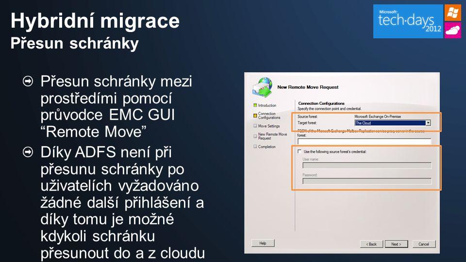 Přesun schránky mezi prostředími pomocí průvodce EMC GUI Remote Move Díky ADFS není při přesunu schránky po uživatelích vyžadováno žádné další přihlášení a díky tomu je možné kdykoli schránku přesunout do a z cloudu Hybridní migrace Přesun schránky