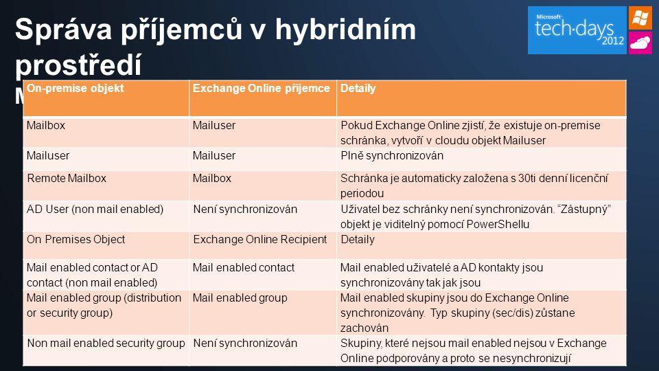 Správa příjemců v hybridním prostředí Mapování objektů On-premise objektExchange Online příjemceDetaily MailboxMailuser Pokud Exchange Online zjistí, že existuje on-premise schránka, vytvoří v cloudu objekt Mailuser Mailuser Plně synchronizován Remote MailboxMailbox Schránka je automaticky založena s 30ti denní licenční periodou AD User (non mail enabled)Není synchronizován Uživatel bez schránky není synchronizován.
