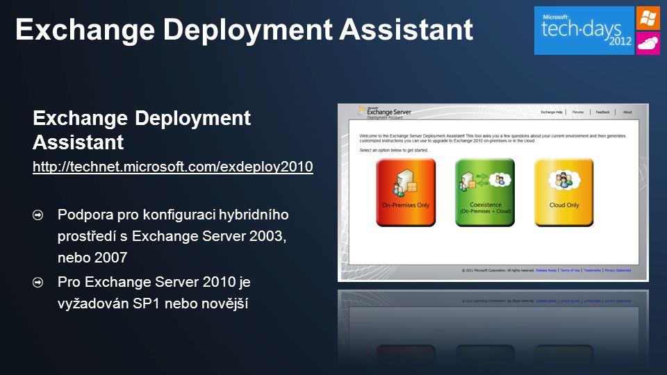 Exchange Deployment Assistant http://technet.microsoft.com/exdeploy2010 Podpora pro konfiguraci hybridního prostředí s Exchange Server 2003, nebo 2007 Pro Exchange Server 2010 je vyžadován SP1 nebo novější Exchange Deployment Assistant