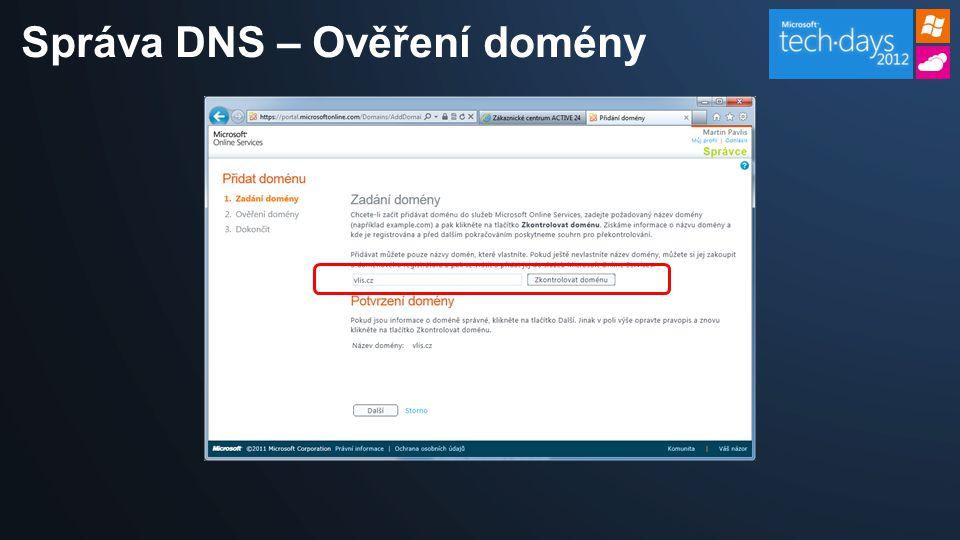 Správa DNS – Ověření domény