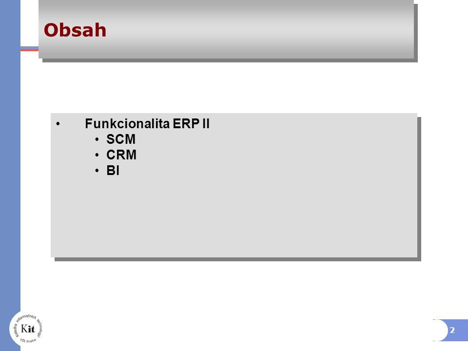 2 Obsah Funkcionalita ERP II SCM CRM BI Funkcionalita ERP II SCM CRM BI
