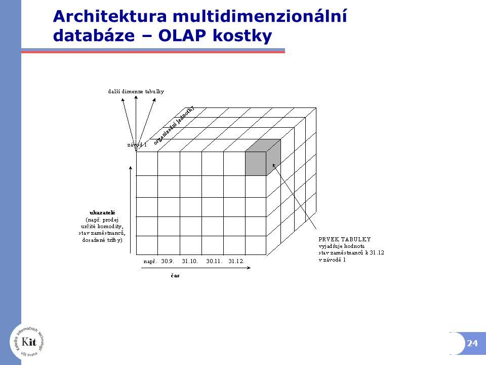 24 Architektura multidimenzionální databáze – OLAP kostky