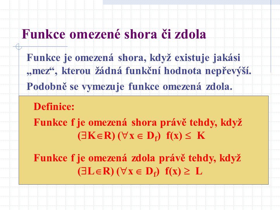 """Funkce omezené shora či zdola Funkce je omezená shora, když existuje jakási """"mez"""", kterou žádná funkční hodnota nepřevýší. Podobně se vymezuje funkce"""