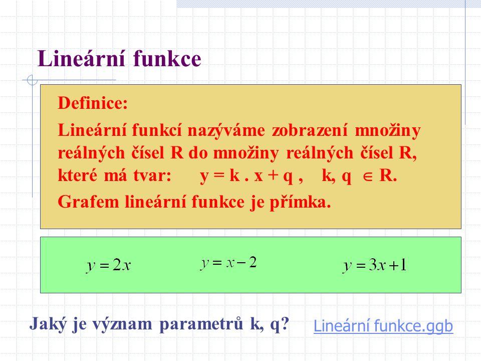 Lineární funkce Definice: Lineární funkcí nazýváme zobrazení množiny reálných čísel R do množiny reálných čísel R, které má tvar: y = k. x + q, k, q 