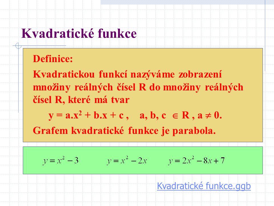 Kvadratické funkce Definice: Kvadratickou funkcí nazýváme zobrazení množiny reálných čísel R do množiny reálných čísel R, které má tvar y = a.x 2 + b.