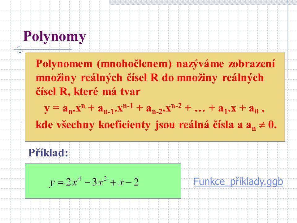 Polynomy Polynomem (mnohočlenem) nazýváme zobrazení množiny reálných čísel R do množiny reálných čísel R, které má tvar y = a n.x n + a n-1.x n-1 + a