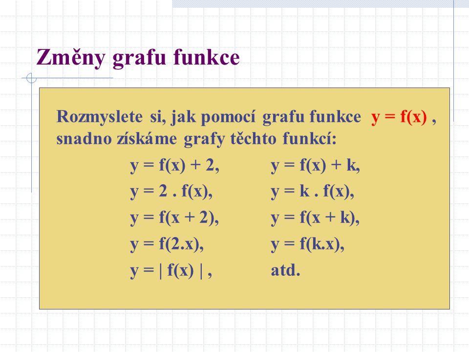Změny grafu funkce Rozmyslete si, jak pomocí grafu funkce y = f(x), snadno získáme grafy těchto funkcí: y = f(x) + 2, y = f(x) + k, y = 2. f(x), y = k