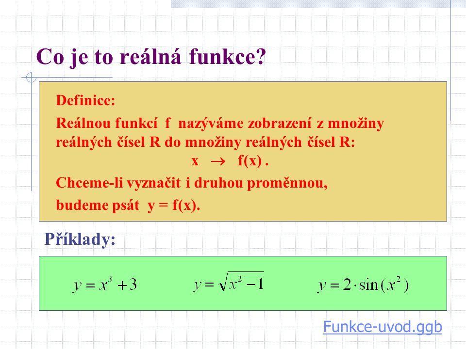 Co je to reálná funkce? Definice: Reálnou funkcí f nazýváme zobrazení z množiny reálných čísel R do množiny reálných čísel R: x  f(x). Chceme-li vyzn