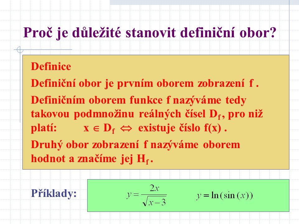 Proč je důležité stanovit definiční obor? Definice Definiční obor je prvním oborem zobrazení f. Definičním oborem funkce f nazýváme tedy takovou podmn