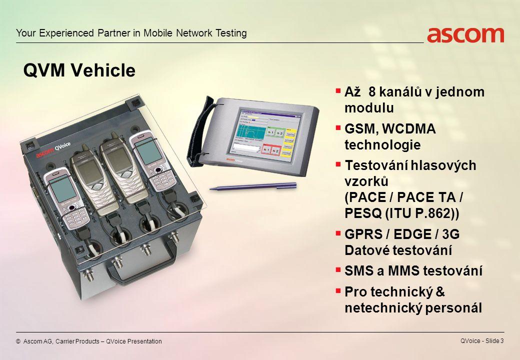 Your Experienced Partner in Mobile Network Testing © Ascom AG, Carrier Products – QVoice Presentation QVoice - Slide 3 QVM Vehicle  Až 8 kanálů v jednom modulu  GSM, WCDMA technologie  Testování hlasových vzorků (PACE / PACE TA / PESQ (ITU P.862))  GPRS / EDGE / 3G Datové testování  SMS a MMS testování  Pro technický & netechnický personál