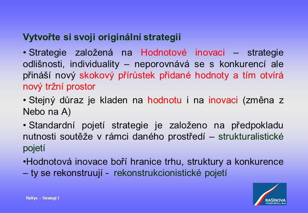 RaVys – Strategi I Vytvořte si svoji originální strategii Strategie založená na Hodnotové inovaci – strategie odlišnosti, individuality – neporovnává se s konkurencí ale přináší nový skokový přírůstek přidané hodnoty a tím otvírá nový tržní prostor Stejný důraz je kladen na hodnotu i na inovaci (změna z Nebo na A) Standardní pojetí strategie je založeno na předpokladu nutnosti soutěže v rámci daného prostředí – strukturalistické pojetí Hodnotová inovace boří hranice trhu, struktury a konkurence – ty se rekonstruují - rekonstrukcionistické pojetí