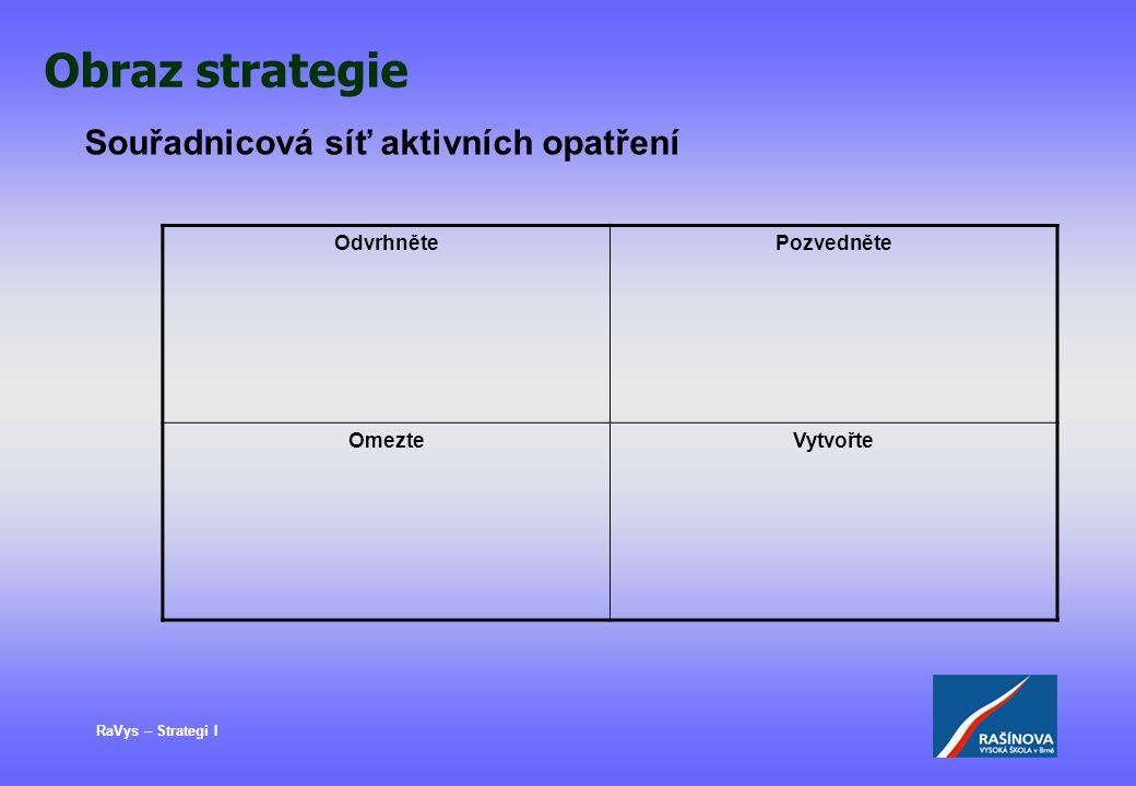 RaVys – Strategi I Obraz strategie Souřadnicová síť aktivních opatření OdvrhnětePozvedněte OmezteVytvořte
