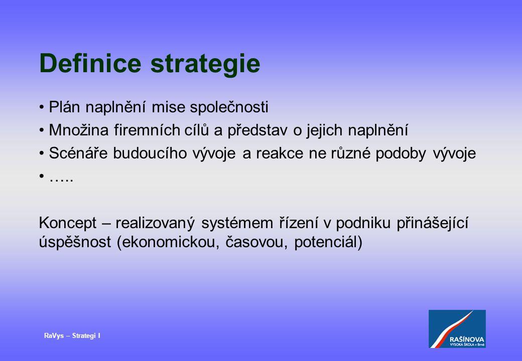 RaVys – Strategi I Definice strategie Plán naplnění mise společnosti Množina firemních cílů a představ o jejich naplnění Scénáře budoucího vývoje a reakce ne různé podoby vývoje …..