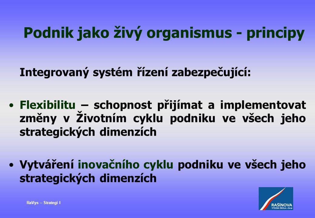 RaVys – Strategi I Podnik jako živý organismus - principy Integrovaný systém řízení zabezpečující: Flexibilitu – schopnost přijímat a implementovat zm