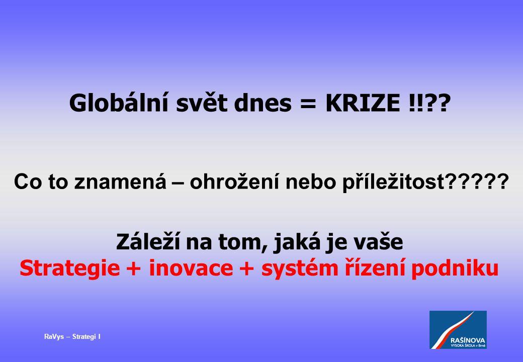 RaVys – Strategi I Globální svět dnes = KRIZE !!?? Záleží na tom, jaká je vaše Strategie + inovace + systém řízení podniku Co to znamená – ohrožení ne