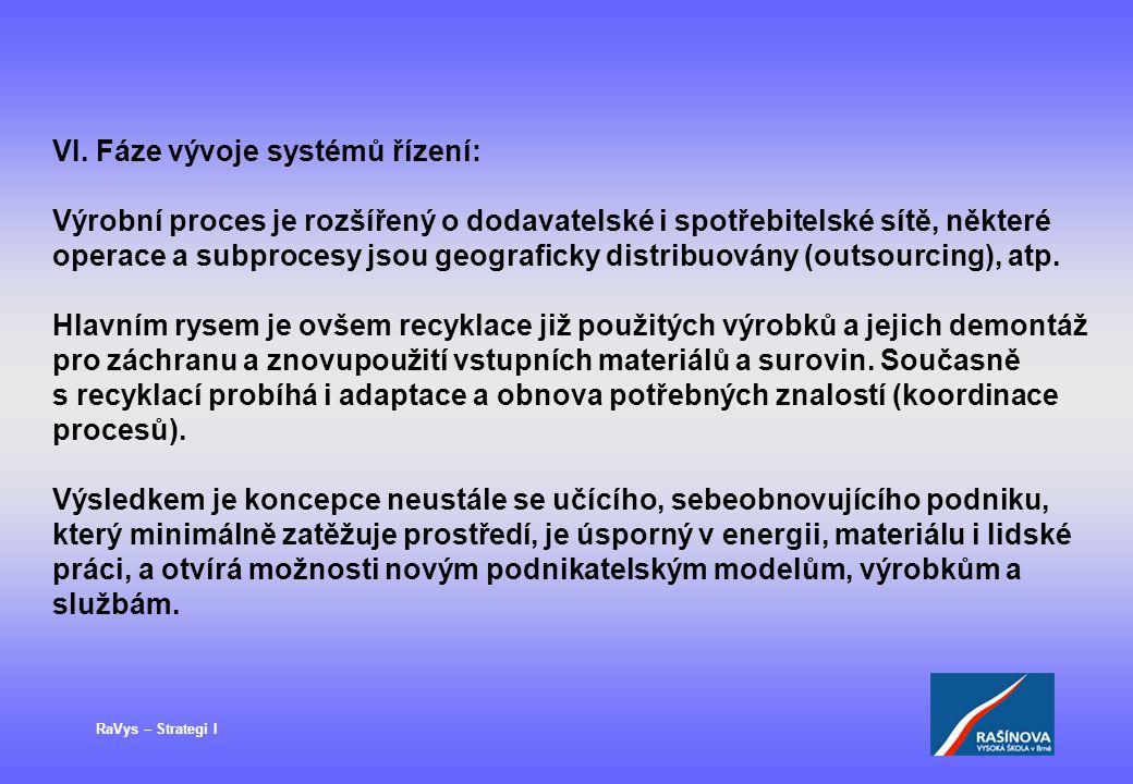 VI. Fáze vývoje systémů řízení: Výrobní proces je rozšířený o dodavatelské i spotřebitelské sítě, některé operace a subprocesy jsou geograficky distri