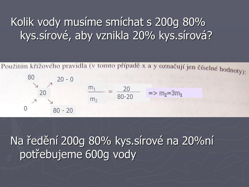 Přidání čistého rozpouštědla 98 0 32 66 32 m 3 = ρ 3 ∙V 3 m 3 = 2470g 49 dílů …………………m 3 49 dílů………………….2470g 1díl………………………xg X= 50,408g X= 50,408g => m 1 = 50,408 ∙16= 806,528g V 1 = m/ρ =8O6,528g/1,836gcm -3 V 1 = 439,23cm -3