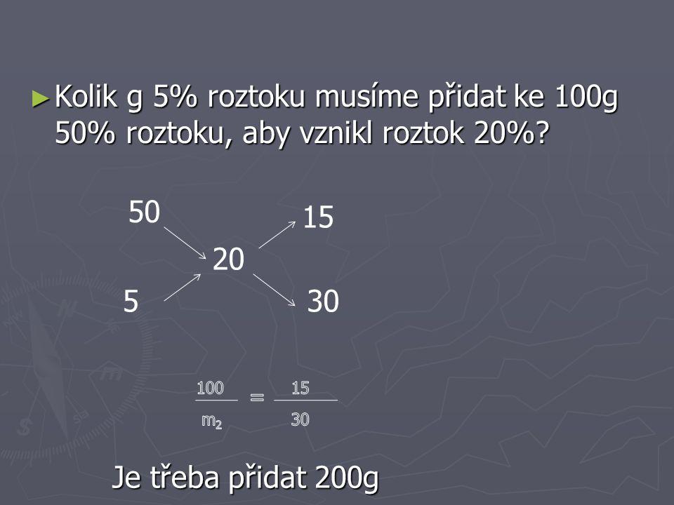 Kolik vody musíme smíchat s 200g 80% kys.sírové, aby vznikla 20% kys.sírová.